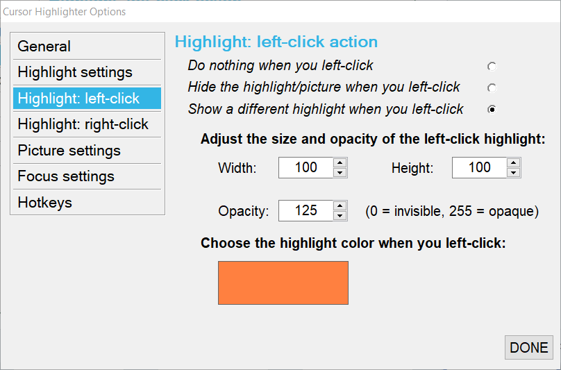 Highlight left-click setting
